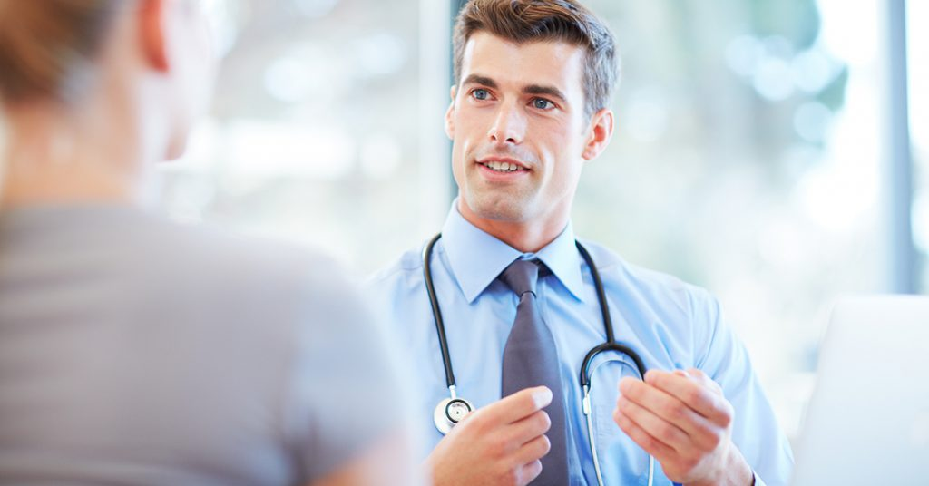 discussing physician benefits with a recruiter
